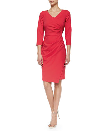 Rosella Stretch-Crepe Ruched Sheath Dress