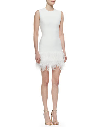 India Feather-Hem Fitted Dress