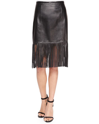 Tiered Fringe Leather Skirt