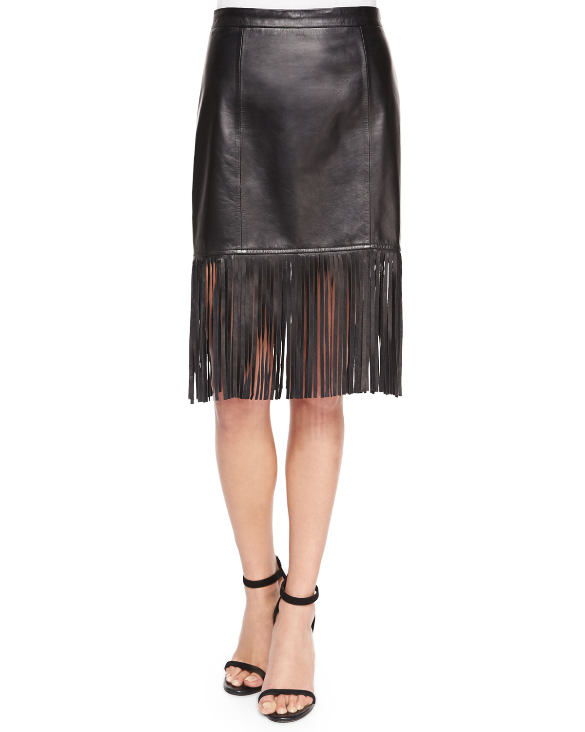 Fringe-Hem Leather Pencil Skirt, Size: SMALL, Black - Cusp by Neiman Marcus