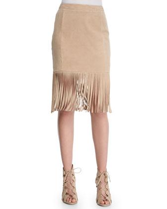 Fringe-Hem Suede Pencil Skirt, Tan