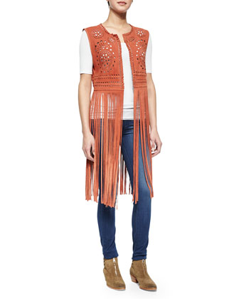 Long Laser-Cut Fringe Vest