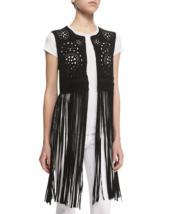 Laser-Cut Long Fringe Vest