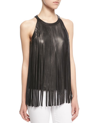 Sleeveless Leather Fringe Top
