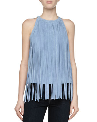 Chambray Suede Fringe Top