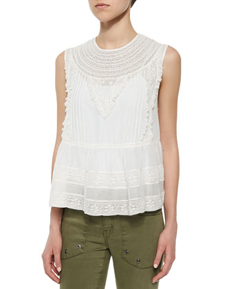Lace-Trim Sleeveless Voile Blouse