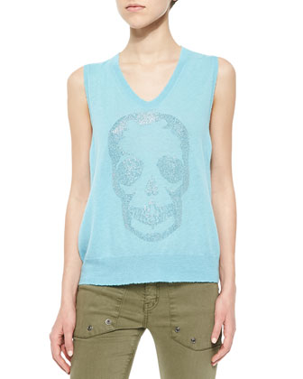 Cashmere Rhinestone-Skull Sleeveless Top