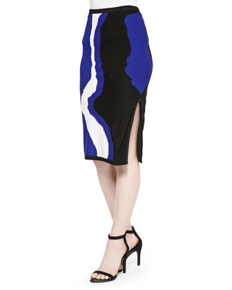 Boat-Neck Cap-Sleeve Top & Printed Side-Slit Knit Skirt