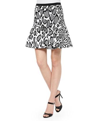 Flare-Hem Leopard-Print Skirt