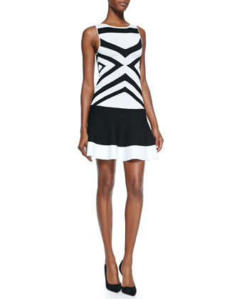 Stretch-Knit Banded Dress, Black/White