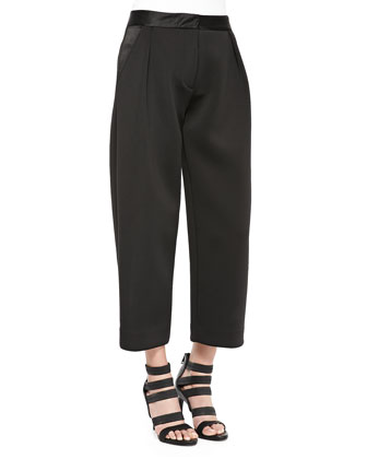 Neoprene Pleated Wide-Leg Pants