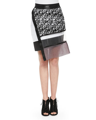 Solid-Trim Reversible Mesh Pullover & Printed Netted Sheer Combo Skirt