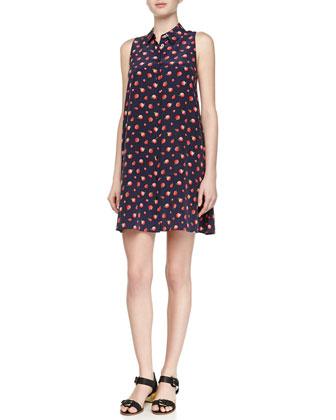 Mina Strawberry-Print Silk Shirtdress