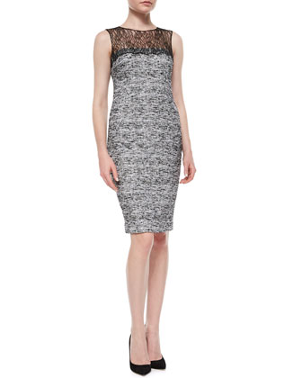 Sleeveless Tweed Sheath Dress W/ Lace Yoke