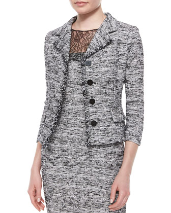 3/4-Sleeve Four-Button Tweed Jacket