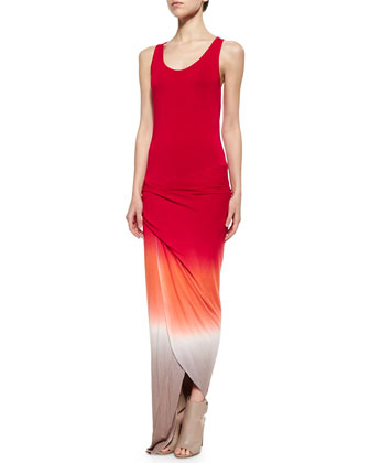 Sassy Ombre Racerback Dress, Red/Orange