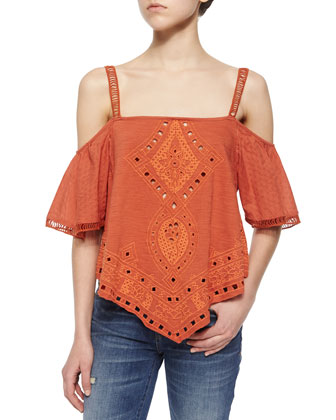 Toosaloosa Embroidered Top, Cactus Flower