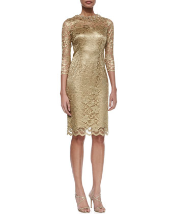 3/4-Sleeve Lace Sheath Cocktail Dress