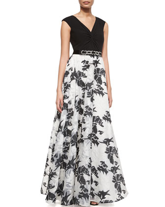 Knot-Top Floral-Print Gown