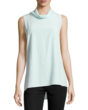 Careena Sleeveless Silk Top, Dewdrop