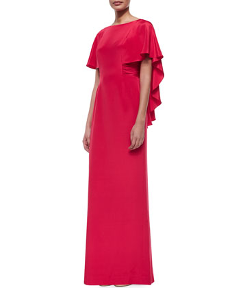 Cascading Cape Column Gown, Red