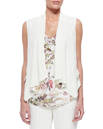 Lace-Inset Draped Crepe Vest, Floral-Print Cowl-Neck Top & Straight-Leg ...