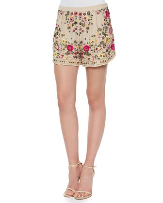 Floral-Embroidered Scalloped Jacket, Sleeveless Cowl-Neck Tank Top & Woven ...