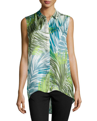 Caden Sleeveless Palm-Print Blouse