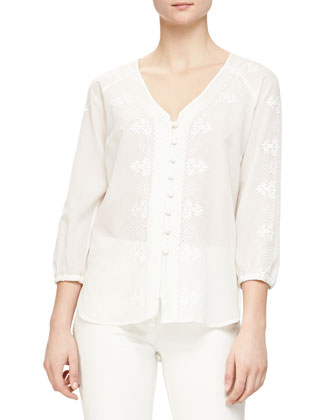Embroidered Boho Button Blouse