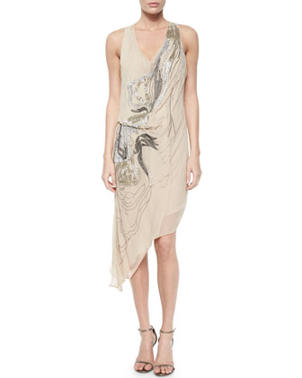 Embroidered Sequined Draped Chiffon Dress