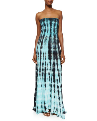 Strapless Tie-Dye Maxi Dress, Olive Ocean Ripples