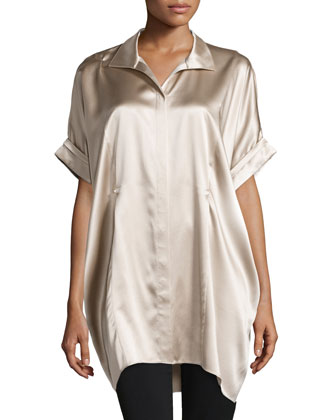 Cordelia Long Trapeze Silk Top, Taupe