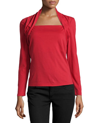 Long-Sleeve Portrait-Neck Top, Flame