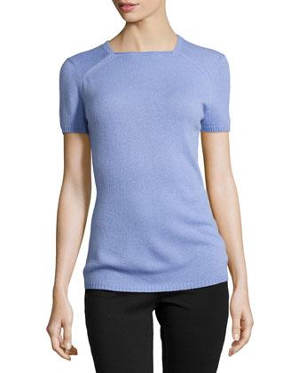 Cashmere Square-Neck Sweater, Lilac
