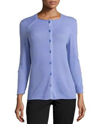 Cashmere 3/4-Sleeve Cardigan, Lilac