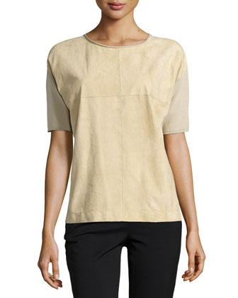 Short-Sleeve Suede-Front Sweater