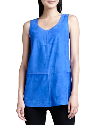 Sleeveless Bonded Suede Top, Blue
