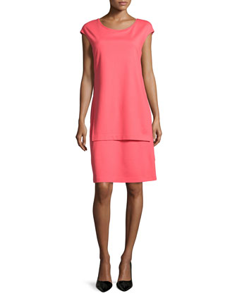 Layered Cap-Sleeve Sheath Dress