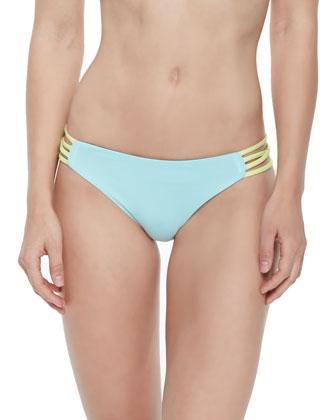 Wild One Colorblock Halter Top & Strappy-Side Colorblock Swim Bottom