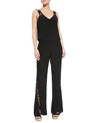 Bardot Lattice-Trim Jersey Jumpsuit