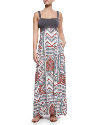 Natasha Solid/Printed Maxi Dress