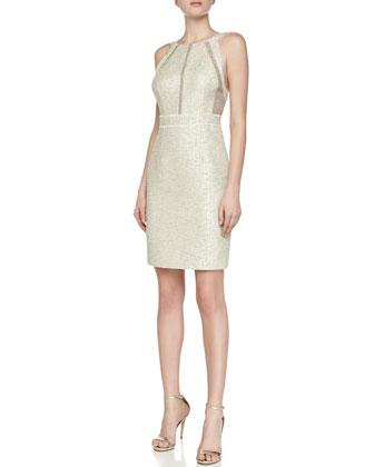 Textured Metallic Sleeveless Cocktail Dress