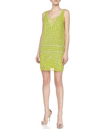 Drop-Waist Dress with Beading