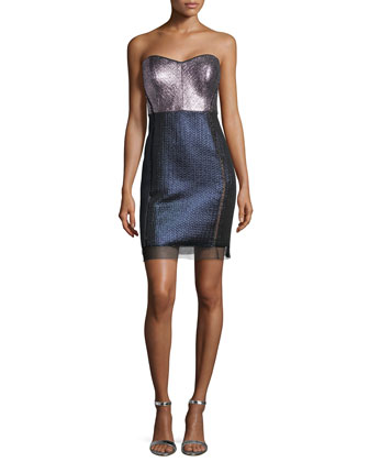 Strapless Sweetheart Metallic Colorblock Dress