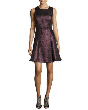Strapless Metallic Jacquard Cocktail Dress