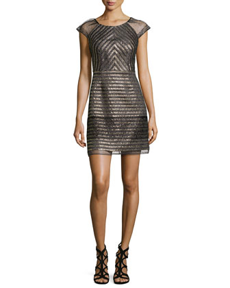 Cap-Sleeve Metallic Cocktail Dress