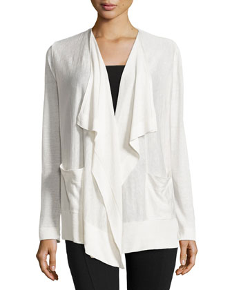 Drape-Front Slub-Knit Cardigan, Cloud