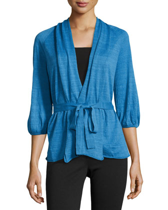 3/4-Sleeve Shawl-Collar Cardigan