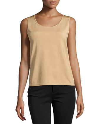 Sleeveless Silk Knit Tank, Gold