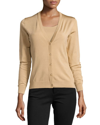 Silk Button-Front Cardigan, Gold